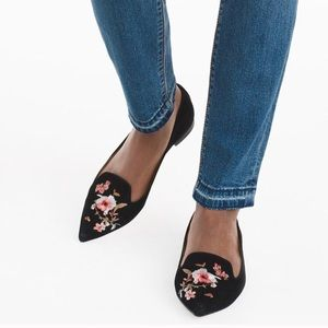 White House Black Market Embroidered Suede Flats